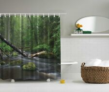 Forest Trees Photographic Fabric Shower Curtain Water Falls Scenic Bath Decor