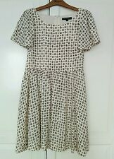 French Connection Nude Beige Dress Black Geometric Aztec Pattern Size 10