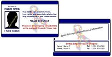 Autism ICE - In Case of Emergency - Medical Alert ID Card - with Photo - Blue.