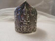 """Vintage~Antique Siam Wide Cuff Sterling Silver Bracelet 2 1/2""""Tall  51.4grams"""