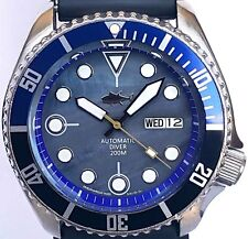 Authentic SEIKO 7S26 diver SKX mod w/BLACK Plongeur hands *Mother of Pearl dial!