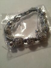 Shamballa Bracelet Silver Gray Adjustable W/ White Austrian Crystal