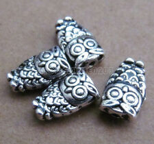 30pc Retro Tibetan Silver 2-Sided Owl Spacer Beads Accessories Findings B0113P