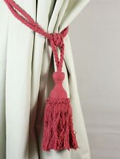 "Pair of Blush Pink Coral Red Knotted Curtain Holdback Tiebacks 75cm (30"")"