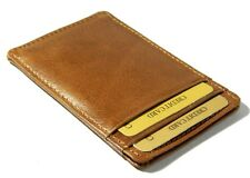 Real leather credit card holder mens wallet ID case mini slim thin oyster tan