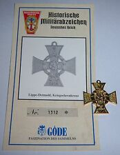 Göde - LippeDetmold, War Honour Cross. 1914 + Cert. Replica