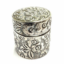 VICTORIAN STYLE THIMBLE CASE WITH FLORAL PATTERN 925 SOLID STERLING SILVER