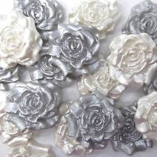 12 Light Silver & White Pearl Sugar Roses anniversary wedding cake decorations