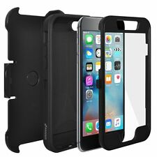 AMZER Full Body Hybrid Credit Card 3 Layer Case Holster For iPhone 6 6S - Black