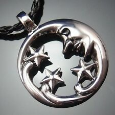 "Crescent Smiling Moon and Stars Pewter Pendant with 20"" Choker Necklace PP#231"