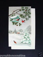 #G920- Unused Norcross Xmas Greeting Card, Cardinals at the Bird Feeder in Snow