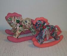 ☆Two Fabric Cloth Rocking Horses W/Mane, Tail, Bows & Ribbons☆Stuffed ADORABLE!☆