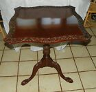 Solid Mahogany Carved Tilt Top Parlor Table (T459)