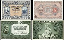 !REPLICA! ICELAND 50 KRONUR 1904 + 100 KRONUR 1927 BANKNOTES !NOT REAL!