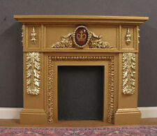 FIREPLACE ~ 1:12  scale ~ 2 Tone Gold~ VINTAGE  GLASS CROWN VICTORIA ~ Dollhouse