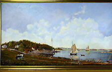Gerald Fellows Oil Painting Maritime Master Gloucester Harbor Nautical Boats