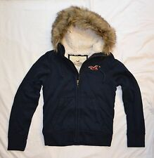NEW Mens %HOLLISTER ABERCROMBIE% Blue Vintage Fur Lined Hoodie Sweatshirt Sz.S