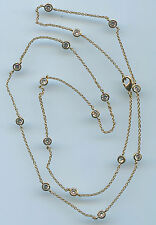 """SINGLE STRAND YELLOW GOLD PLATED 4 CT TW 24"""" RUSSIAN CZ BY THE YARD NECKLACE"""