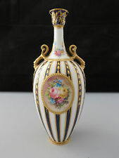 Rare 1905 Royal Crown Derby Blue Striped Vase Signed By Reuben Hague