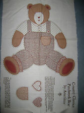 Vintage Ameritex Fabric Panel Country Classics Patchwork Bear Brown