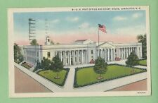 Vintage Postcard U.S. Post Office and Court House, Charlotte, N.C.