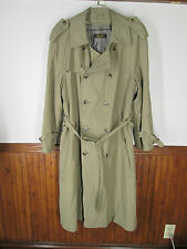 vtg Men's Brooks Brothers Tan Trench Flasher Double Breasted Belted Coat sz 38