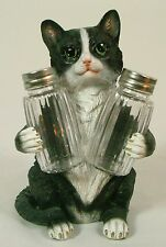 BLACK & WHITE CAT SALT & PEPPER SHAKER HOLDER Polyresin NEW Dining Kitchen LE