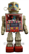 Metal House Battery Operated Operator Robot Tin Toy Japan Made NEW