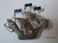 VTG STERLING SILVER FILIGREE SPANISH GALLEON PIN W/ COBALT & AQUA ENAMEL ACCENTS