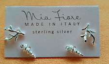 MIA FIORE Set of 2 Sterling Silver Coral And Shell Stud Earrings (Italy) NEW