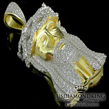 """1.9"""" MEN'S REAL STERLING SILVER YELLOW GOLD FINISH JESUS FACE CHARM PENDANT NEW"""