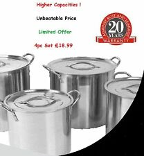 Set di 4 Deep in acciaio Inox STOCK Pot STOCKPOT Set Vasi saucepan casserole