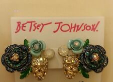 Betsey Johnson skull and croses clip earrings in goldtone