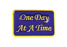 AA One Day At A Time Pin Tac Awareness Alcohol Navy Blue Gold Lettering New