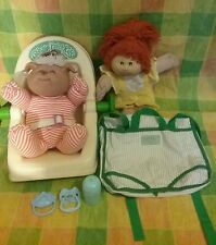 Vintage 1980's Cabbage Patch lot, car seat, backpack, doll carrier/diaper bag