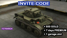 World Of Tanks WOT | CODE | TETRARCH | 7 DAYS PREMIUM | 500 GOLD | BONUS