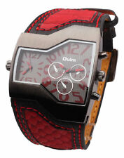 Men's Military 2 Dials Multi Timezone Sports Leather Analog Wrist Watch OL06 Red