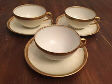 "Limoges ""OLD ABBEY""  France Gold Rim China ~ Set of 3 ~ Cups and Saucers"