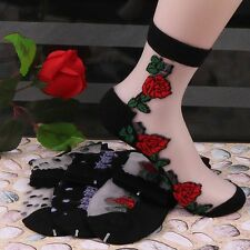 Lace Ultrathin Transparent Sexy Beautiful Elastic Short Socks Rose Pattern