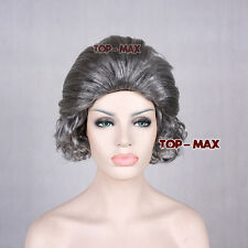 New Type Silver Gery Short Curly Hair Old Lady Grandma Cosplay Full Wig