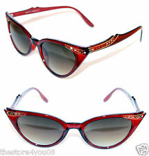 Cat Eye 50's Sunglasses Rhinestone clear Red gold star Pin Up Retro Vintage