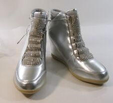"newSILVER 3"" wedge heel round toe ankle boot front rhinestone  lace  size 11"
