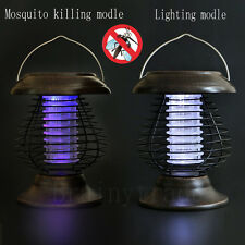 Solar Powered Outdoor Mosquito Fly Bug Insect Zapper Killer With Trap Lamp Light