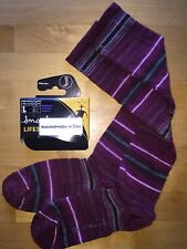 SmartWool LIFESTYLE Arabica Stripe Socks – Red Wine, Over-the-Calf – Women LG