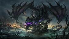 Fantasy art dragons beasts skulls Art Silk Poster 24x36""
