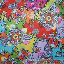 BonEful Fabric FQ Cotton Quilt Rainbow Red Flower Swirl Hippie Groovy Boho Retro
