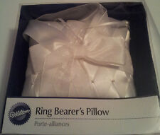 Wilton-Ring-Bearer-Pillow-White-Diamond-Weave-Pattern-Satin-Pearl-Pins-White-Bow