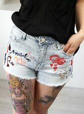 Hot Pants Jeans S 36 Stonewashed Hellblau Patches Shorts Hose Sexy Sommer Trend