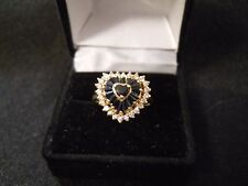 Vintage Sapphire & Diamond 14K Gold Ring Size 7.5 Good Condition Estate Jewelry