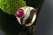 Schmuck Goldschmiedearbeit Ring mit Rubin Cabochon & Diamanten in 750er Gold